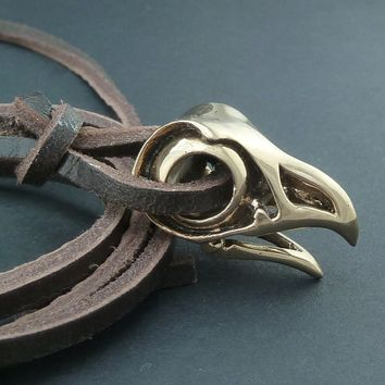Bird Skull Necklace Bronze Eagle Skull Pendant on Leather