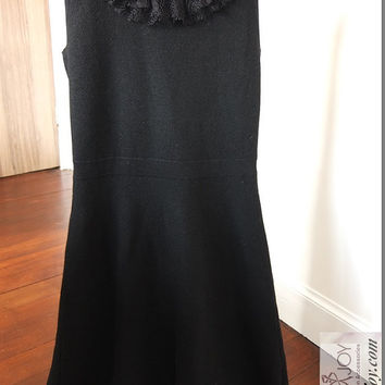 OOAK Chic Black Pure Merino Wool Dress with White Venetian Lace Embellished Collar with White Faux Beads Romantic Vintage Classic Dress