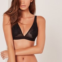 Missguided - Lace Elastic Hem Bra Black
