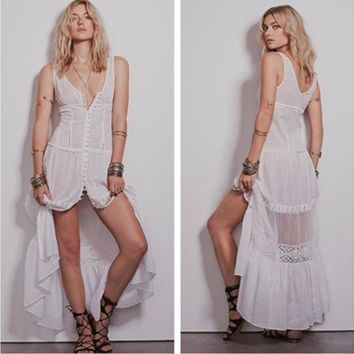 ONETOW Fashion Gauze Stitching Hollow Lace V-Neck Sleeveless Cardigan Vest Maxi Dress