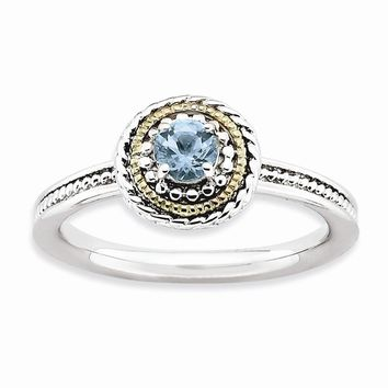Sterling Silver & 14k Gold Stackable Expressions Sterling Silver Blue Topaz Ring