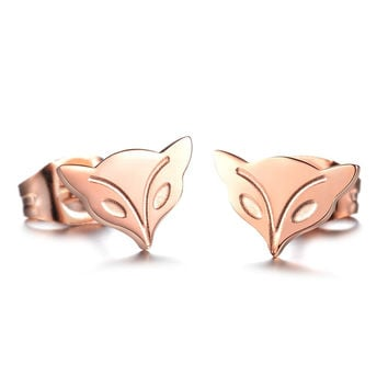 Brand decorations Rose gold little fox ear nails Titanium steel lady