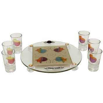 Glass Liquor Cup & Tray Sets Artistic Made in Israel