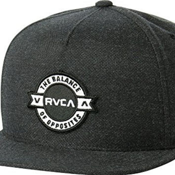 RVCA Mens Defined 5 Panel Snapback Hat Smoke