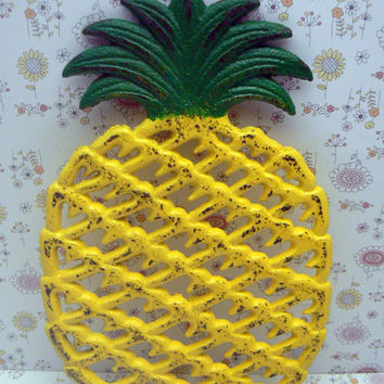 Pineapple Cast Iron Trivet Hot Plate Bright Sunny Yellow Green Distressed Shabby Chic House Warming Gift Symbol of Hospitality Kitchen Decor