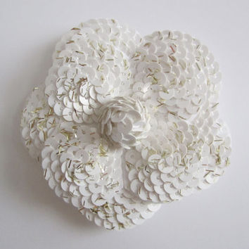 Authentic CHANEL White Sequin Camellia Flower Sticker / DIY Brooch / Badge / Pin *FREE Shipping*