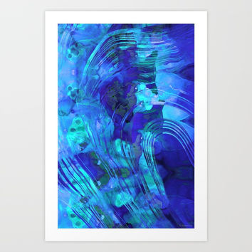 Blue Abstract Art - Reflections - Sharon Cummings Art Print by Sharon Cummings