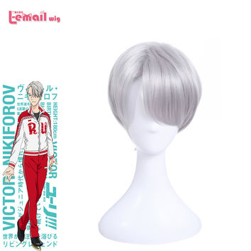L-email wig Brand New Anime Yuri on Ice Cospaly Wigs Victor Nikiforov Wig Peruca Short Synthetic Hair Peruca Cosplay Wig