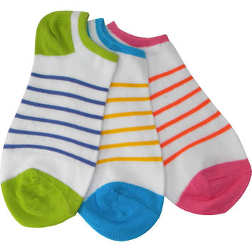 Three Pack Stripe Footie Socks in White with Fuchsia and Orange, Turquoise and Yellow, and Lime and Blue
