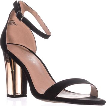 madden girl Beella Ankle Strap Dress Sandals, Black/Clear, 9 US