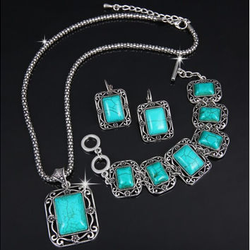 Oval Square Round Mix Styles Jewelry Sets Vintage Antique Silver Turquoise Stone Earrings Bracelet Necklace Women Jewelry set