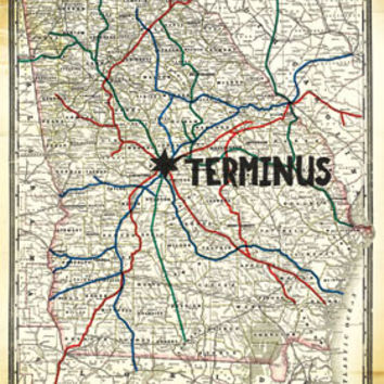 The Walking Dead - Terminus Map TV Show Poster 22x34 RP13739 UPC882663037391