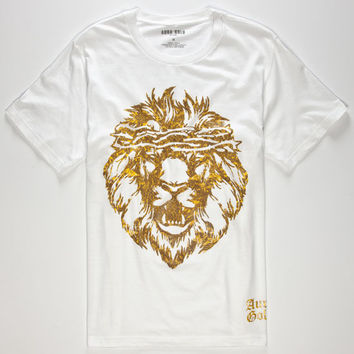 Aura Gold Gold Lion Mens T-Shirt White  In Sizes