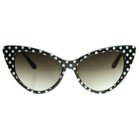 Retro 1950's Polka Dot Cat Eye Fashion Sunglasses 8498