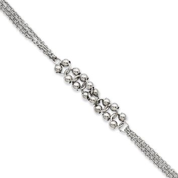 Stainless Steel Polished Beads Chain Bracelet - Lobster Claw