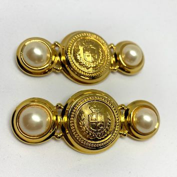 A Matching Pair of Near Mint Vintage Gawdy Glam Pearl & Goldtone Majestic Regal Military Style Bar Lapel Pins, So Rad! signed too!