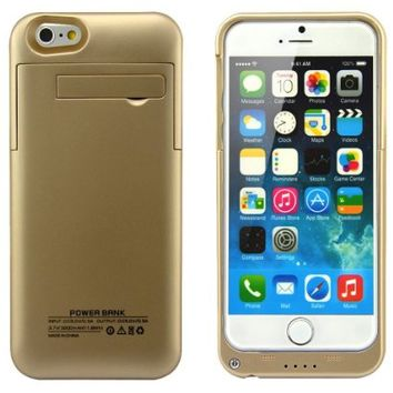 Kujian iPhone 6S External Battery Backup Charger Case 3200mAh with Kickstand 4 Led Light Indicators for Apple iPhone 6/6S Gold
