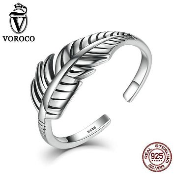 VOROCO 2017 Hot Sale Authentic 925 Sterling Silver Feather  Vintage Band Cuff Adjustable Open Ring for Women Fine Jewelry VSR045