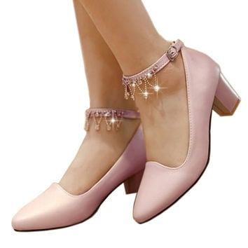 Low-cut Sweet Princess Thin Shoes Thick High Heel  pink