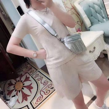 """""""Gucci""""Woman's Leisure  Fashion Letter Printing Short Sleeve  Shorts Two-Piece Set Casual Wear"""