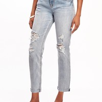 Boyfriend Straight Distressed Jeans for Women | Old Navy