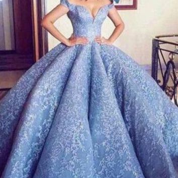 Blue Lace Off The Shoulder Ball Gown Quinceanera Dresses,Princess Prom Dress OKC91