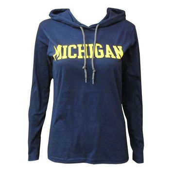 Michigan Wmns Hooded LS - Navy/Dark Grey