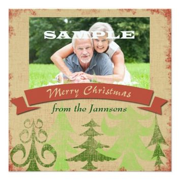 Pine Trees Border Merry Christmas 5.25x5.25 Square Paper Invitation Card