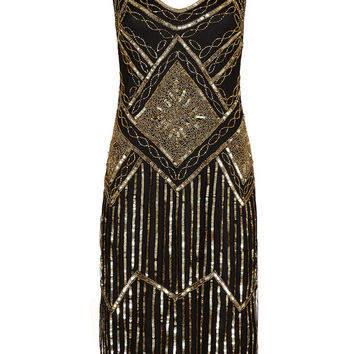 UK30 US26 AUS30 Black Gold Vintage inspired 20s vibe Flapper Great Gatsby Beaded Charleston Sequin Downton Abbey Wedding Dress New Hand Made
