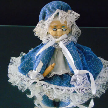 Cover Doll Vintage Granny With A Rolling Pin Air Freshener Topper  Kitchen Decor