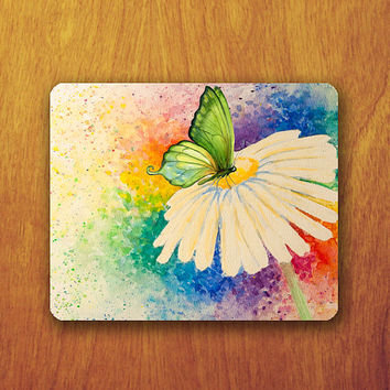 Butterfly Watercolor Mouse Pad Colorful Beautiful Animal Painting White Flower MousePad Office Pad Work Accessory Personalized Custom Gift