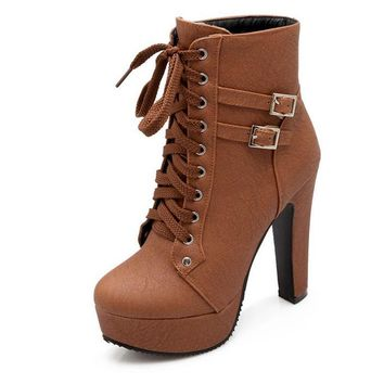 Ankle Boots For Women Female High Heels 2018 Lace Up Autumn Shoes Woman Buckle Platform Short Boots Plus Size Mujer Botas