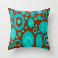 Mod Brown and Turquoise Pillow,18x18 Fun Pillow, Mod Pillow, Funky Pillow, Modern Pillow, Mod Cushion,Funky Cushion, Fun Cushion