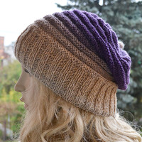 Knitted multicolor kauni lace beani cap hat purple,gray