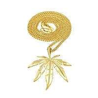 Bird Feather Cannabis Leaf Necklace