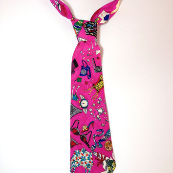 Penny For Your Thoughts, Novelty Silk Tie by American Fashion Designer Nicole Miller, Silk Necktie, Lingerie, Suggestive Undergarments