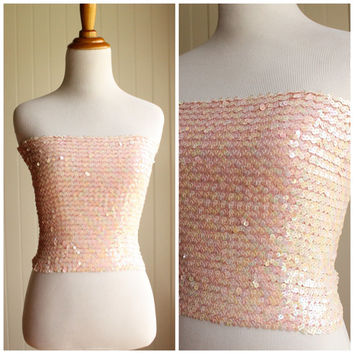 Vintage 80s Pink Sequin Tube Top// Sequin Disco Strapless Top// Club Wear