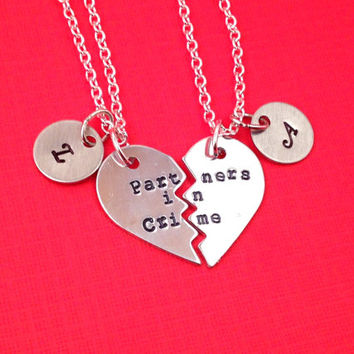 Partners in Crime Hand Stamped Broken Heart with Initial Charms Necklace Set- In Brass, Copper, or Aluminum