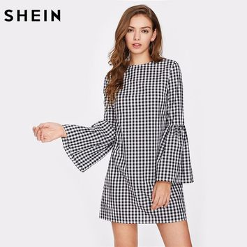 SHEIN Exaggerate Flare Sleeve Gingham Short Dress Black and Whit 80e304ad1