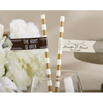 Personalized Party Straw Flags - The Hunt Is Over