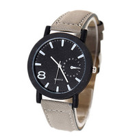 Unisex Cool Leather Strap Watches Fashion Women Men Casual Sports Watch Best Christmas Gift