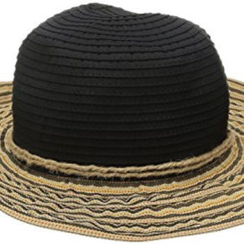 San Diego Hat Company Women's 4-Inch Brim Round Crown Ribbon Hat with Jacquard Stripe Wired Sun Brim Hat, Black, One Size