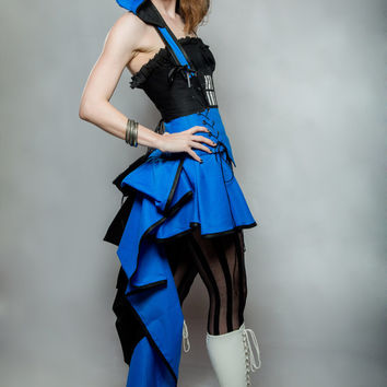 TARDIS - Under Bust Corset -  Blue, Black, and White Bustle Mini Gown Costume - Custom - by LoriAnn Costume Designs