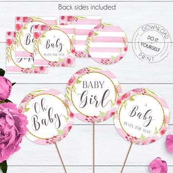 Baby Shower Floral Cupcake Toppers, Stripes, Baby Girl,Shower Décor,Shower Decoration,Baby Shower Toppers,Boho Cupcake Toppers,Vintage Decor