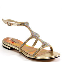 Luichiny Shoes Chan Ning Jeweled Vamp Gold Sandals