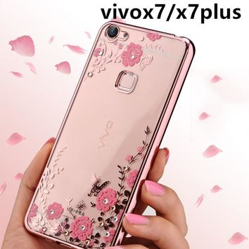 Elivebuy Secret Garden Flowers Plating Diamond Electroplating Cover Phone TPU Case Soft Silicon Transparnt Cell Cases For Vivo x