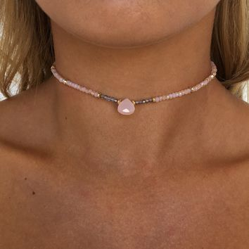 Pink Drop Bead Choker Necklace