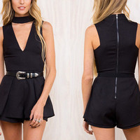 Women Sexy Round Necked Zipper Erotic Romper Trousers Pants _ 12040