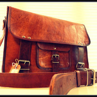 Handmade 13 inch Round pocket leather messenger bag/ cross body/ leather Laptop bag/ MacBook bag/ Retro Satchel/ shoulder bag