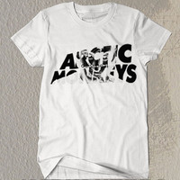 New Artic Monkeys Photo Background  Symbol Black and White T- Shirt  For Men Or Women Size TS08